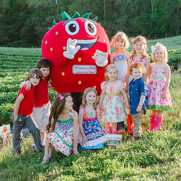 Kids love our pick-your-own strawberries!
