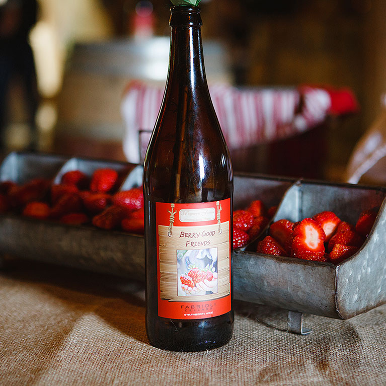 Enjoy a bottle of our Berry Good Friends Strawberry Wine!